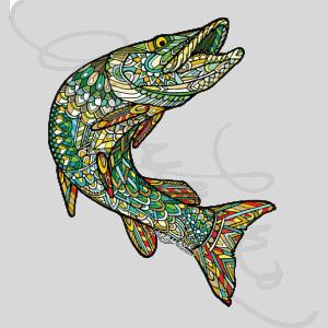 Andrea Larko Zentangle Muskellunge Sticker
