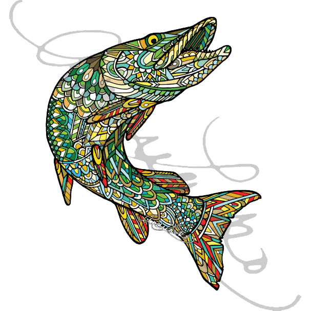 Andrea Larko Zentangle Muskellunge Sticker