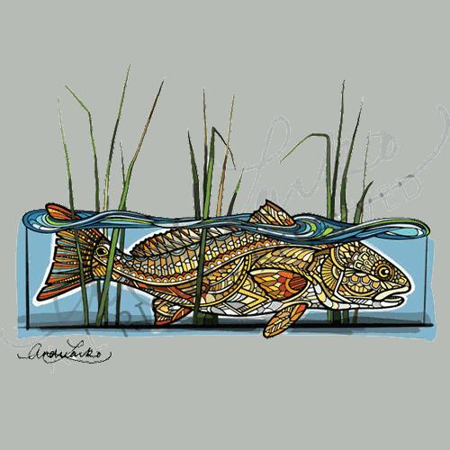 Andrea Larko Zentangle Redfish in the Reeds Sticker