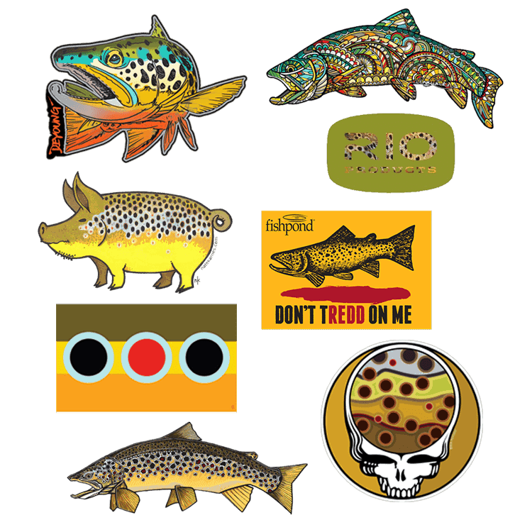 Brown trout pack fly fishing stickers and decals for Free fishing stickers
