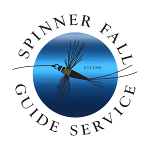 Spinner Fall Guide Service Metallic Blue Logo Sticker