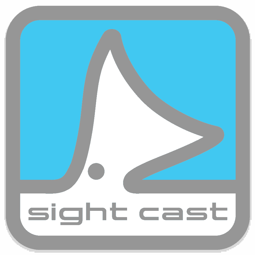 Sight cast fishing company salt water fly fishing square logo sticker
