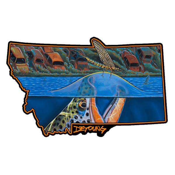 Derek DeYoung Harvest Moon Rising Montana Brown Trout Sticker