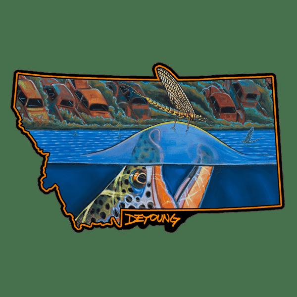 Derek DeYoung Harvest Moon Rising Montana Brown Trout Sticker