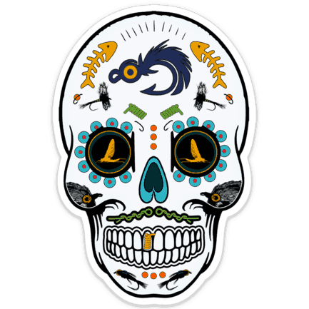 Fly Slaps Fly Fishing Fresh Water Sugar Skull Sticker