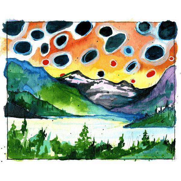 Fly Slaps Ryan Keene Brown Trout Landscape Sticker