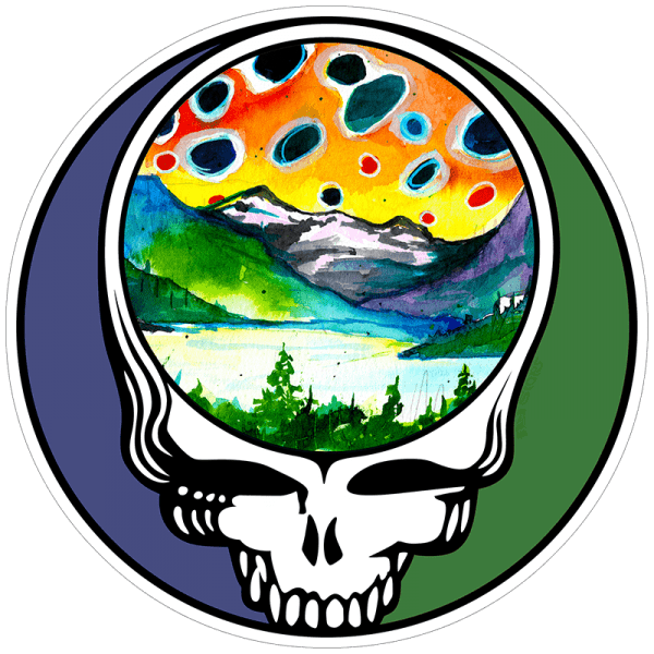 Fly Slaps Ryan Keene Steal Your Face Brown Trout Landscape Sticker