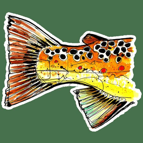 Ryan Keene Brown Trout Tail Sticker