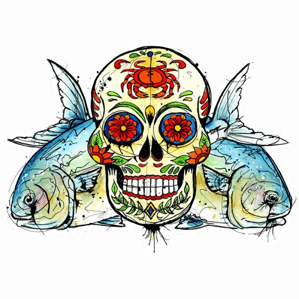 Ryan Keene Permit Sugar Skull Sticker