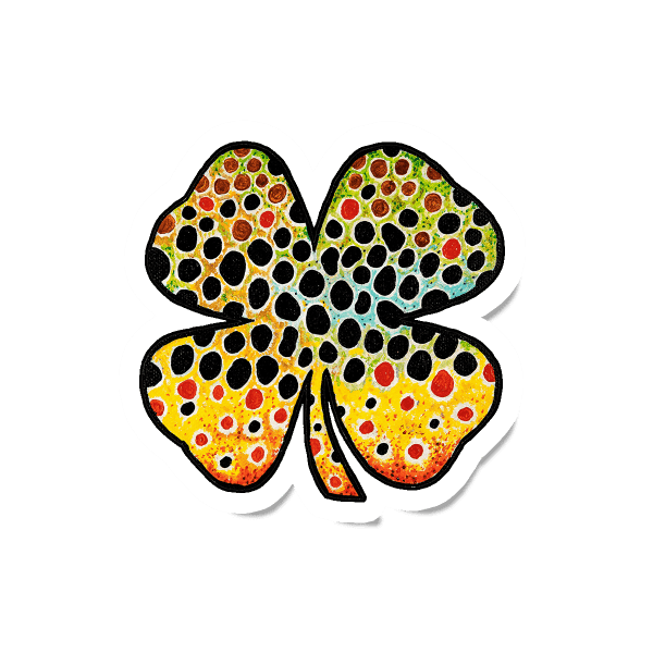 Ethan Markie Lucky Brown Trout Clover Sticker