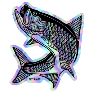 Fly Slaps Wandering Blue Lines Holographic Tarpon Sticker